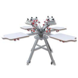 fda540fc Free shipping 4 Color 4 station Screen Printing Machine Press t-shirt  printer equipment carousel