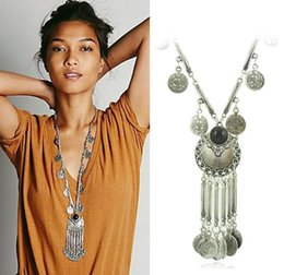 Discount necklaces pendants statement brand jewelry - New Brand Fashion Vintage Boho Antique Coin Necklace for Women Statement Long Tassel Necklaces Bohemian Maxi Jewelry XY-