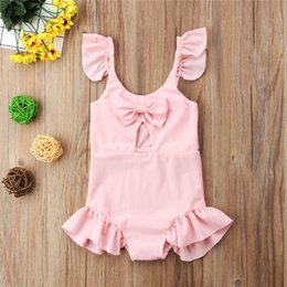 cashmere clothes for babies Canada - Bathing Children's Swimsuit Pink Bowknot Baby Girls Lovely Swimwear Beach Clothes One-piece Baby Swimsuit Swimwear For Girls