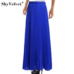 Womens Purple Tutu Australia - Elegant Summer 2018 Chiffon Women Long Skirts Womens High Waist Pleated Tulle Tutu Maxi Skirt Bohemian Solid 10 Colors Falda Y19050602