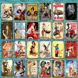 sexy metal vintage signs Australia - Vintage Sexy Lady Pin Up Girl Painting Tin signs Metal Plate Art Poster Wall Sticker Bar Coffee House Shop Cafe Home Decor