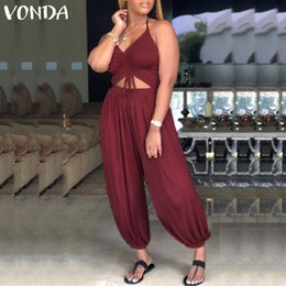 VONDA Rompers Womens Jumpsuit 2019 Sexy Sleeveless Backless Halter Harem  Pants Casual Baggy Lace-up Overalls Plus Size Playsuits fccedad0b86b