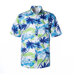 Chinese  Print Beach Shirts Men Koean Loose 4XL Blue Casual Beaside Surf Hawaiian Shirts vacation Summer 2019 Short Sleeve chemise homme manufacturers