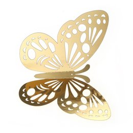 $enCountryForm.capitalKeyWord Australia - 12pcs set 3D Butterfly Wall Stickers Hollow Removable Mural Stickers DIY Art Wall Decals Decor with Glue for Bedroom Wedding Party--Gold