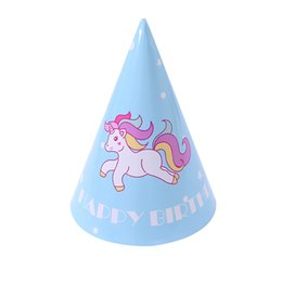 Wholesale Birthday party decorations kids Boy blue unicorn party Children s day decoration pack Paper hat supplies