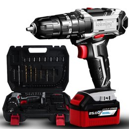 volt kit NZ - Lingming 25-volt Lithium-Ion Hammer drill and Impact Driver household rechargeable Multifunction Max Power Tool Combo Kit