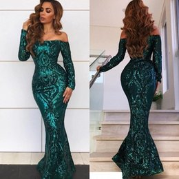 full length sparkly dress UK - Green Arabic Prom Dresses 2019 Sexy Off The Shoulder Full Sparkly Lace Long Sleeve Evening Gowns Floor Length Dubai Formal Dress DP0249