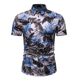 fashion hawaiian shirts 2019 - Men Hawaiian Shirt Male Casual Printed Beach Men's Summer Fashion Business Leisure Printing Short-sleeved Shirt Top