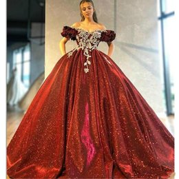 Sparkly ball gown girl dreSSeS online shopping - Sparkly Red Ball Gown Prom Dress Off The Shoulder Lace Appliqued Beads Black Girl African Formal Evening Gowns vestido