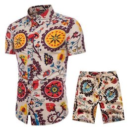 gold linen suits 2019 - Summer Mens Linen Sets 2019 New Print Floral Short Sleeve Shirts Sets Fashion Casual Fit Slim Turn-down Collar Men Suits