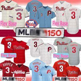 3 Bryce Harper Jersey Filadélfia Phillies 150º Base de Flex Homens 3 Harper Malha Retro Majestoso Oficial Alternativo Legal Basebol Jerseys