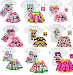 $enCountryForm.capitalKeyWord Australia - Surprise Girls Clothing Suits 3-10Y Kids Outfits 3pcs set T shirt + skirt + bag Children Short Dress Top Tee Set INS Baby Summer Wear B73003