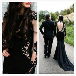 $enCountryForm.capitalKeyWord Australia - Custom Made Princess Satin Appliques Hollow Long Illusion Sleeve Lace Black Gothic Mermaid Wedding Dress 2019 Bridal Gowns Transparent