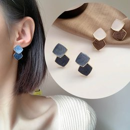 ceramic studs UK - Double Layer Colour Ceramic Glaze Square Stud Earrings for Women Fashion Korean Earring Small Stud Earings Summer Jewelry Girls