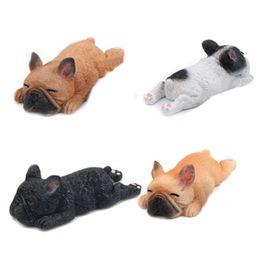 $enCountryForm.capitalKeyWord UK - 4Pcs Sleepy Zoo 3D Diy French Bulldog Resin Fridge Magnets for Kids Home Decoration Ornaments Figurines