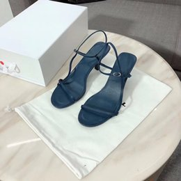 Comfortable Soft Women Shoes Australia - 2019 women designer shoes Summer Bare leather sandals soft navy leather 65mm elegant slender straps surprisingly comfortable 3A 010