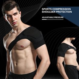 knee pain strap UK - CHIWANG Breathable Shoulder Support Sports Single Shoulder Protector Brace Strap Belt For Pain Sprains Newest