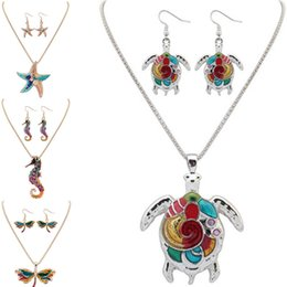 $enCountryForm.capitalKeyWord Australia - Maxi Statement Choker Rainbow Turtle Starfish Dolphin Dragonfly Hippocampus Necklace Earring Set Collar Pendant Fashion New Enamel Jewelry