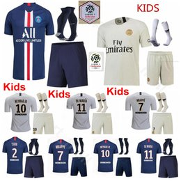 yellow green soccer kits NZ - Kids Soccer Paris Germain Youth PSG Jersey Socks Set 2019 2020 MBAPPE CAVANI DRAXLER DI MARIA MARQUINHOS Football Shirt Kits Uniform