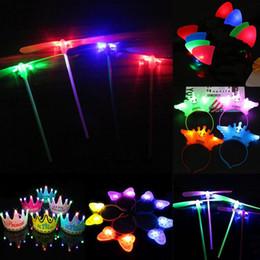 $enCountryForm.capitalKeyWord Australia - LED Light Up Headband Crown Bow Ears Hairband LED Flying Dragonfly Party Costume New Fashion LED Light Up Headband