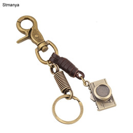 pure key NZ - Mini Camera Keyring Punk Style Pure Hand - Woven Leather Rope Key Chain Men Women Couple Keychain Alloy Key Ring Jewelrys