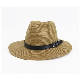 men fedora black straw NZ - Summer Classic Hats For Men Straw Sun Hats Women Beach CAPS Couple Sun Visor Wide Brim Summer Fedora Jazz Cap