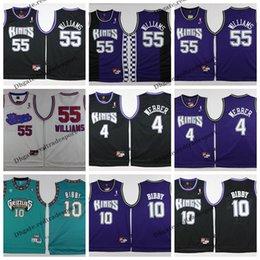 f97fd71de Mens Vintage Sacramento 55 White Chocolate Jason Williams King Chirs Webber  Mike Bibby Basketball Jersey Stitched Shirts S-XXL