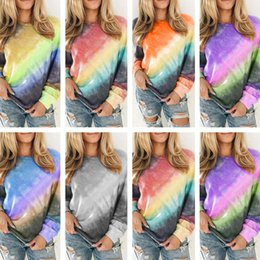 loose crew neck tshirt wholesale Canada - Pullover Sweater Tops Tee Women Clothes Tie Dye Print Shirt Long Sleeves Crew Neck Loose t-shirt Spring Tshirt Blouse Plus size S-5xl D21705