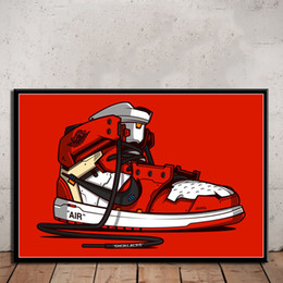 Painted canvas sneakers online shopping - P076 Sneaker Michael Shoes Fashion AJ History Art Painting Silk Canvas Poster Wall Home Decor