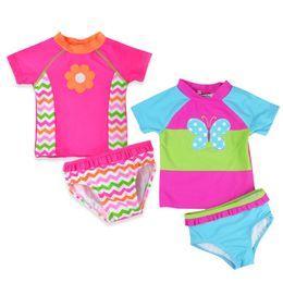 $enCountryForm.capitalKeyWord UK - Kids Girls Split Swimsuit Raglan Short Sleeve Wavy Floral Print Girls Swimwear Cartoon Butterfly Sportswear Splice Sets Bathing Suit