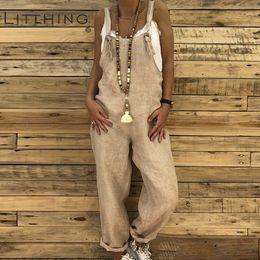 $enCountryForm.capitalKeyWord Australia - LITTHING Rompers Women Jumpsuits Cotton Linen Female Overall Dungarees Casual Harem Pants Loose Long Playsuit Jumpsuit Plus Size