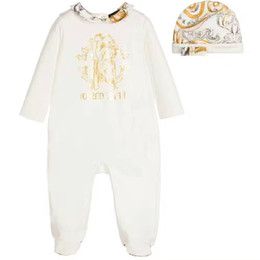 Venta al por mayor de Marca Baby Boys Girls Mamelucos Diseñador 3PCS SET Traje de algodón de manga larga para bebé