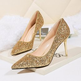 $enCountryForm.capitalKeyWord NZ - 2019 Womens High Heels Prom Wedding Shoes 9cm Stiletto Ladies Crystal Silver Glitter Rhinestone Bridal Shoes Thin Heel Party Pumps Shoes New
