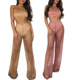 gold sequins tops Australia - Sexy Club Wear Women Sequin Two Piece Pants Set Outfits Bling Bling Sheer Crop Strapless Tube Top Long Pant Sets Pink Gold S-2XL