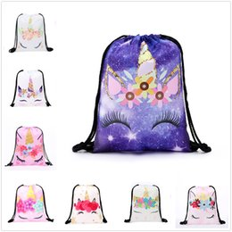 Pattern Decor Australia - New Cute Unicorn Pattern Polyester Storage Bag Bundle Pocket With String Lovely Gift Decor Free Shipping