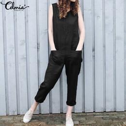 Harem Jumpsuits Women Australia - wholesale Women Cotton Linen Jumpsuits 2019 Summer Sleeveless Rompers Casual Overalls Harem Pants Playsuit Plus Size Pantalon Femme