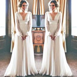 $enCountryForm.capitalKeyWord Australia - 2019 Boho Wedding Dress Long Sleeve Modest V Neck Chiffon Empire Maternity Women Bridal Gowns Greek Style Sexy Bride Dresses