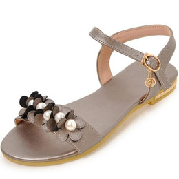 $enCountryForm.capitalKeyWord UK - Hot2019 Flower Pearl Level With Sandals Girl Will Flat Shoes 40-43 For Many Years Living 628