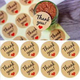 venda por atacado 600pcs Rodada Natural Kraft Handmade com etiquetas do amor obrigado adesivos para decoração de casamento decoração de festa Stickers