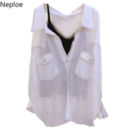 linen sleeveless top NZ - Neploe Spring 2019 New Fashion Two Piece Women Blouse Loose Turn-down Collar Top Korean Linen Sleeveless Thin Shirts 42945