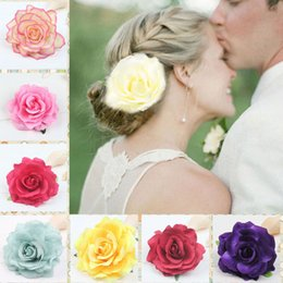 $enCountryForm.capitalKeyWord Australia - Fashion Colorful Fabrics Rose Flower Bridal Hair Clip Hairclips Hairgrips Elegant Hairpin Wedding Party Accessories