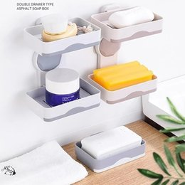 clear shoe storage boxes wholesale NZ - Double Layers Powerful Suction Cup Soap Dish Holder Wall Mounted For Bathroom Shower Soap Holder Saver Box Storage Organizer Rac Bathroom St