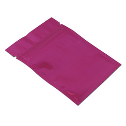$enCountryForm.capitalKeyWord Australia - 100pcs 10*15cm purple mylar food grade storage zip lock zipper sealing package bag glossy aluminum foil packing bag aluminum foil mylar bag