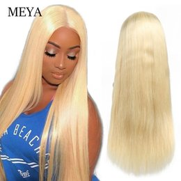 Platinum Blonde Full Lace Wigs Australia - Color 613 Platinum Blonde Long Wig Glueless Lace Front Human Hair Wig Straight Full Lace Wig