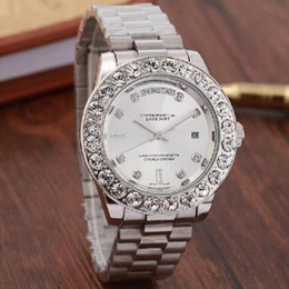 Large Wrist Watches Australia - 2019 Top Brand Men Business Watch Luxury Diamond Quartz Watches Silver Stainless Band White Large Dial Double Calendar Wrist watch Male 44MM