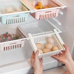Wholesale Kitchen Adjustable Stretchable Refrigerator Organizer Drawer Basket Refrigerator Drawers Pull-out Fresh Spacer Layer Storage Rack Box Holder