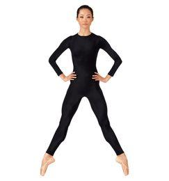Chinese  Speerise Adult Long Sleeve Black Unitards Women Crew Neck Gymnastics Spandex Dance Unitard Bodysuit Full Body Skin Tight Costume manufacturers