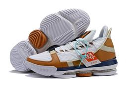 lebron laces 2019 - Lebron 16 Trainer White Midnight Navy Ginger CD7089-100 Men Basketball Shoes Hot Sale James 16 Mens Athletic Designer Sp
