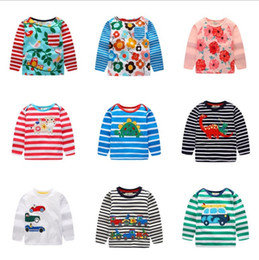 Discount girls kids t shirt design Brand Baby Shirts Embroidered Kids T Shirts Long Sleeve Children Tees Cartoon Boys Tops Summer Kids Clothing 24 Designs