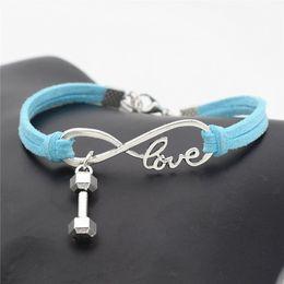$enCountryForm.capitalKeyWord Australia - New Fashion Infinity Love Barbell Dumbbell Sports Fitness Pendant Charm Bracelets Blue Leather Suede Rope Wrap Family Women Men Jewelry Gift